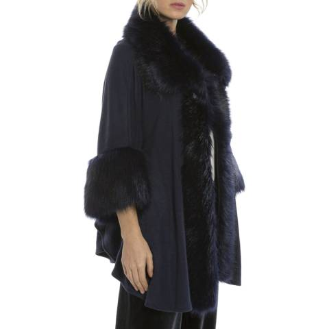 JayLey Collection Navy Luxury Faux Fur Fine Knitted Coat
