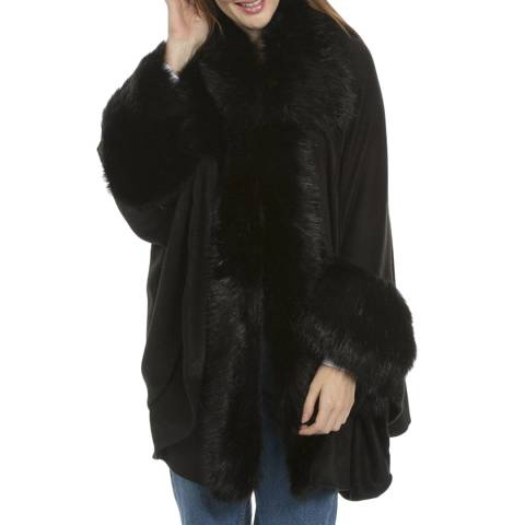 JayLey Collection Black Luxury Faux Fur Fine Knitted Coat