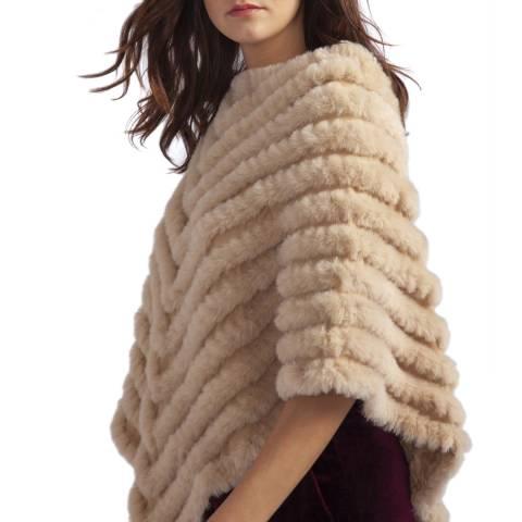 JayLey Collection Beige Cashmere Blend Faux Fur Poncho