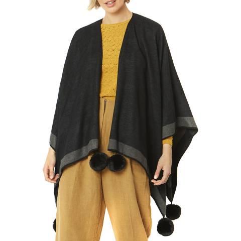 JayLey Collection Black Cashmere Blend Faux Fur Pom Pom Wrap
