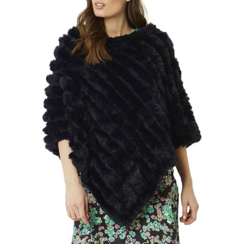 JayLey Collection Navy Cashmere Blend Faux Fur Poncho