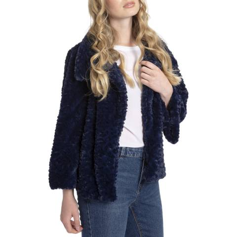 JayLey Collection Navy Faux Fur Jacket