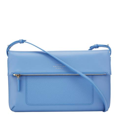 Smythson Blue Panama Folded Crossbody Bag