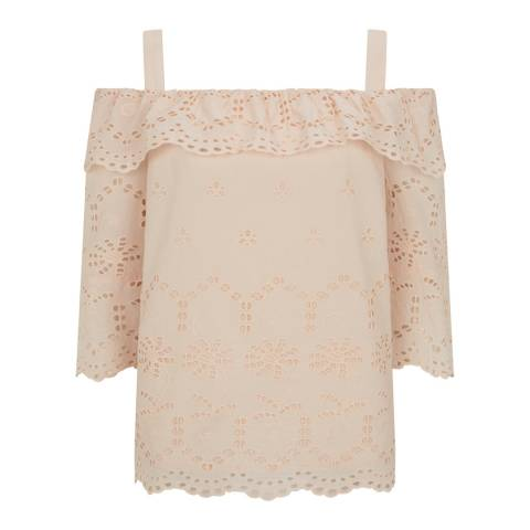 Mint Velvet Blush Broderie Anglaise Cotton Top