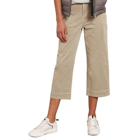 Mint Velvet Khaki Cropped Wide Leg Trouser