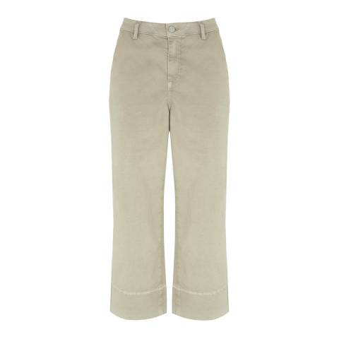 Mint Velvet Khaki Wide Leg Cotton Stretch Trousers