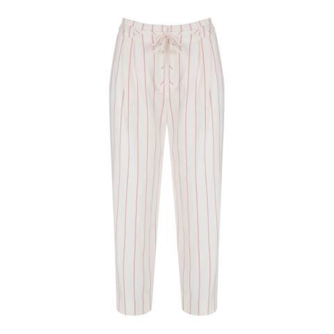 Mint Velvet White/Red Striped Paperbag Trousers