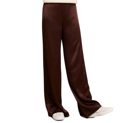 Mint Velvet Chocolate Satin Wide Trouser