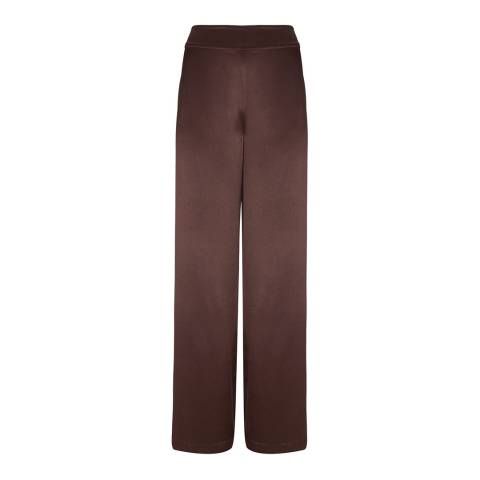 Mint Velvet Chocolate Satin Wide Trousers