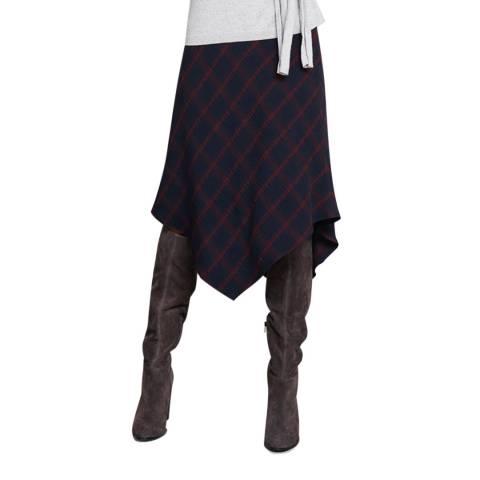 Mint Velvet Ink Check Fishtail Skirt