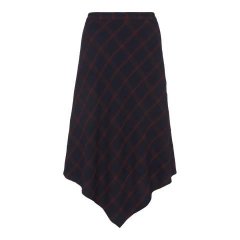 Mint Velvet Ink/Multi Check Fishtail Skirt