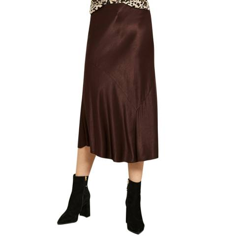 Mint Velvet Chocolate Satin Skirt