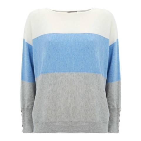 Mint Velvet Blue/Multi Cashmere Blend Blocked Stripe Jumper