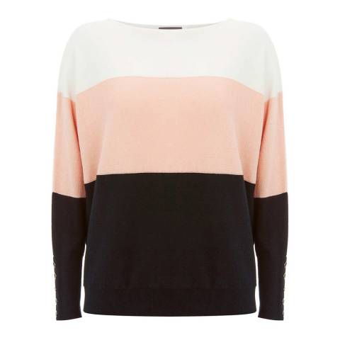 Mint Velvet Light Orange/Multi Cashmere Blend Blocked Stripe Jumper