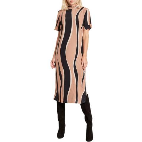 Mint Velvet Ripple Print High Neck Dress