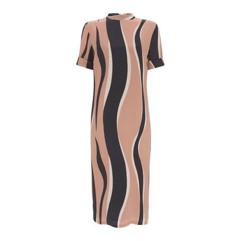 Mint Velvet Camel/Multi Ripple Print Dress