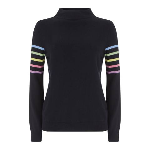 Mint Velvet Navy Multi Cashmere Blend Stripe Jumper