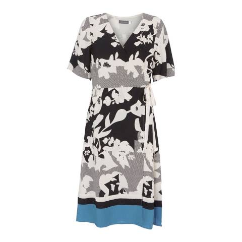Mint Velvet Mono/Blue Kendall Print Wrap Dress
