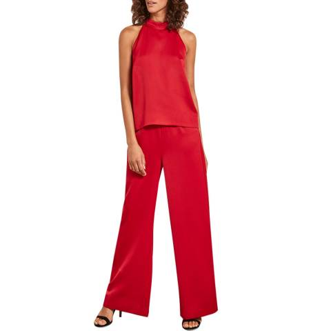 Mint Velvet Red Halter Layered Jumpsuit