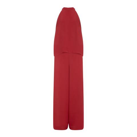 Mint Velvet Red Halter Layered Jumpsuit