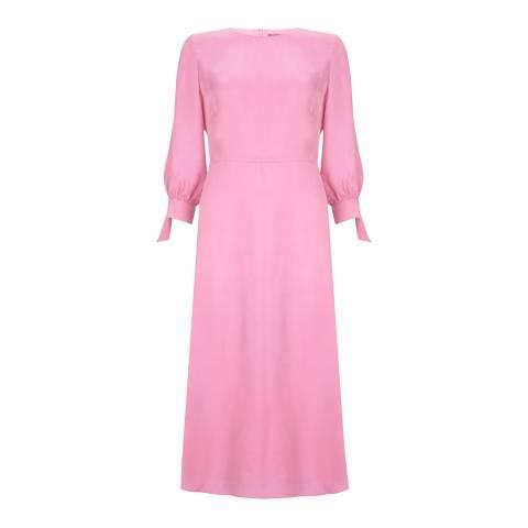 Mint Velvet Light Pink Cupro and Silk Blend Midi Dress