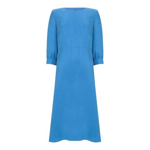 Mint Velvet Bright Blue Silk Blend Cupro Midi Dress