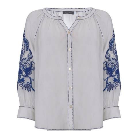 Mint Velvet Ivory Embroidered Cotton Blouse