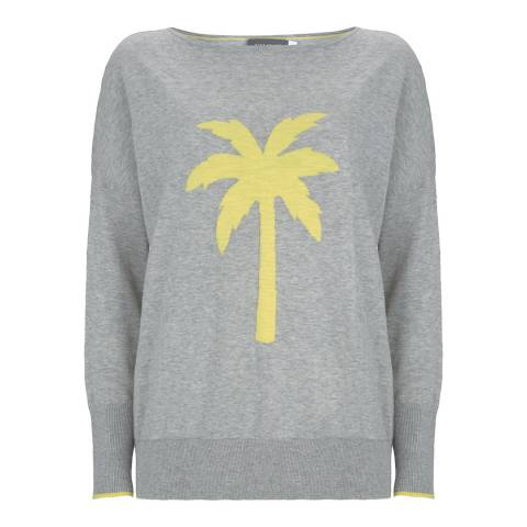 Mint Velvet Light Grey Palm Tree Cotton Jumper