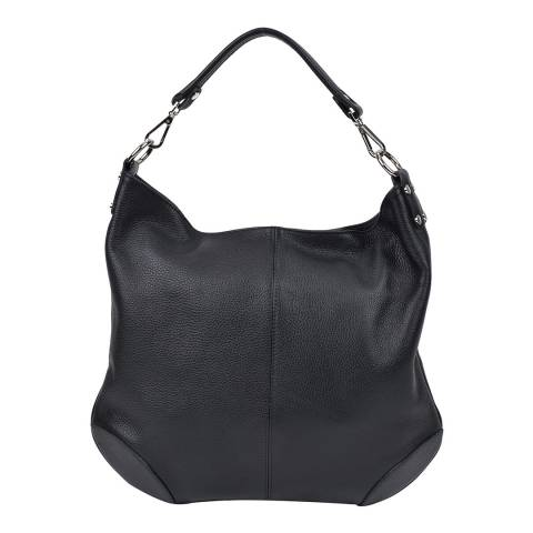 Roberta M Black Leather Top Handle Bag