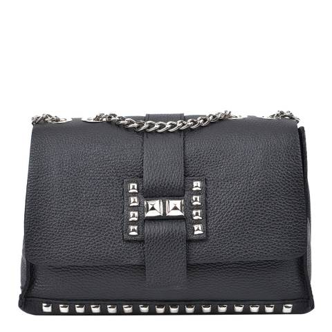 Roberta M Black Leather Chain Stud Shoulder Bag