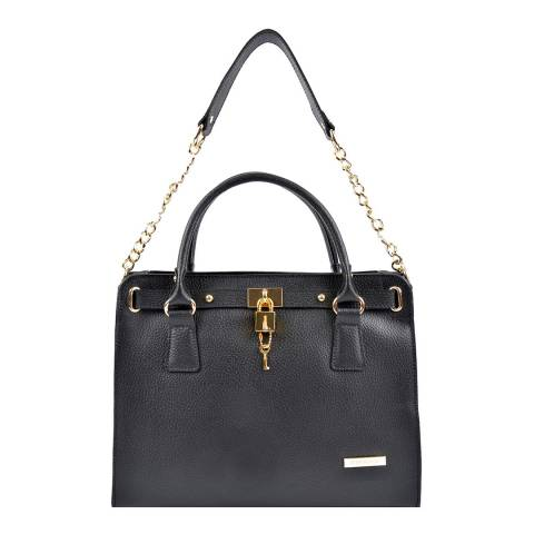 Roberta M Black Leather Chain Shoulder Bag