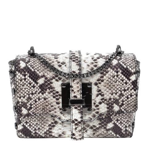 Roberta M Black Snake Print Leather Shoulder Bag