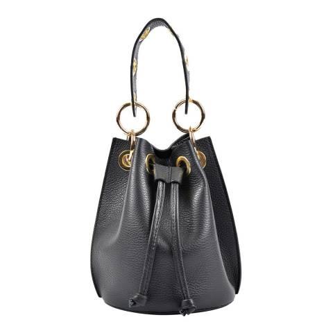 Roberta M Black Drawstring Leather Bag