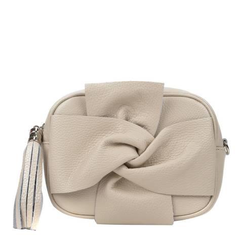 Roberta M Beige Bow Tassel Shoulder Bag