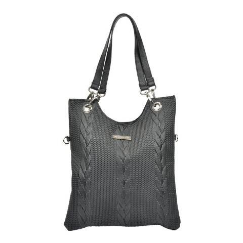 Mangotti Black Leather Tote Bag