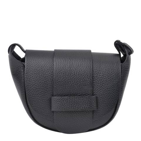 Roberta M Black Leather Shoulder Bag