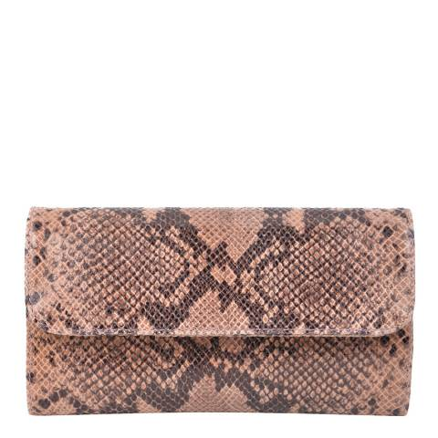 Roberta M Blush Snake Print Leather Clutch  Bag