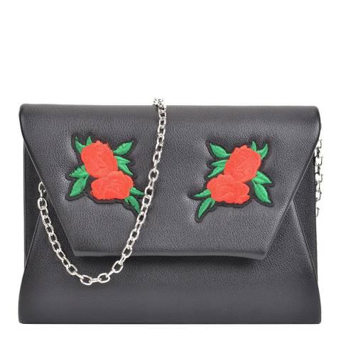 Mangotti Black Leather Flower Design Shoulder Bag