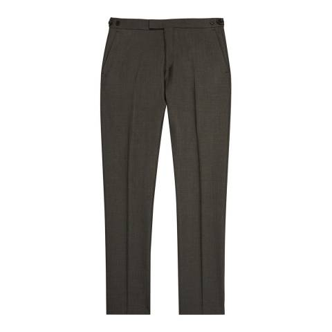 Reiss Khaki Kamara Slim Fit Wool Suit Trousers