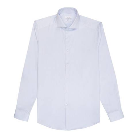 Reiss Mid Blue Angeles Slim Cotton Shirt