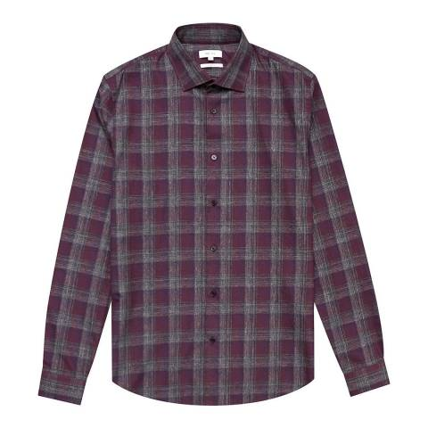 Reiss Bordeaux Amarvi Mouline Slim Cotton Shirt