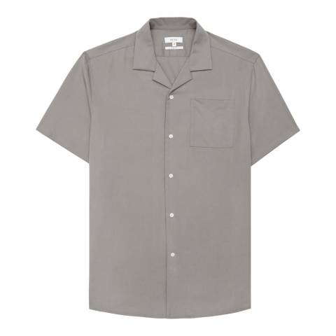 Reiss Grey Castro Open Collar Shirt