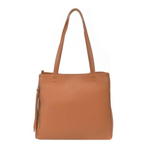 Roberta M Cognac Leather Top Handle Bag