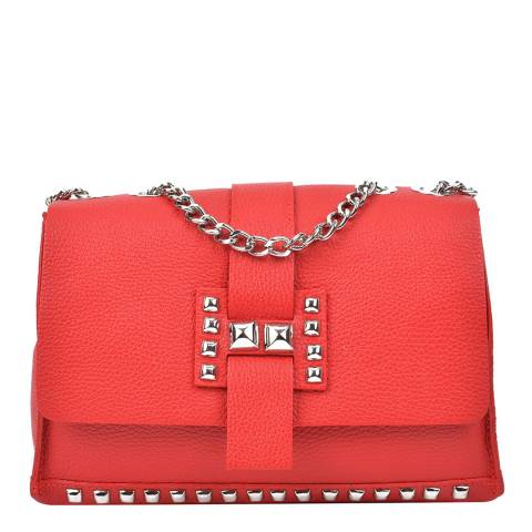 Roberta M Red Leather Chain Shoulder Bag