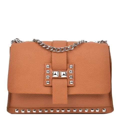 Roberta M Cognac Leather Chain Shoulder Bag