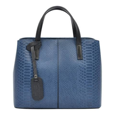 Roberta M Blue Leather Top Handle Bag