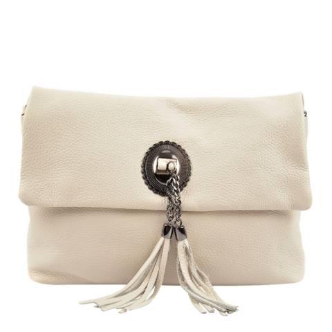 Roberta M Beige Leather Cross Body Bag