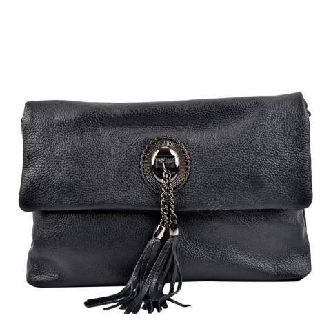 Roberta M Black Leather Cross Body Bag