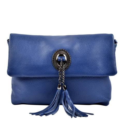 Roberta M Blue Leather Cross Body Bag
