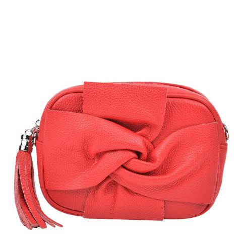 Roberta M Red Leather Bow Front Shoulder Bag